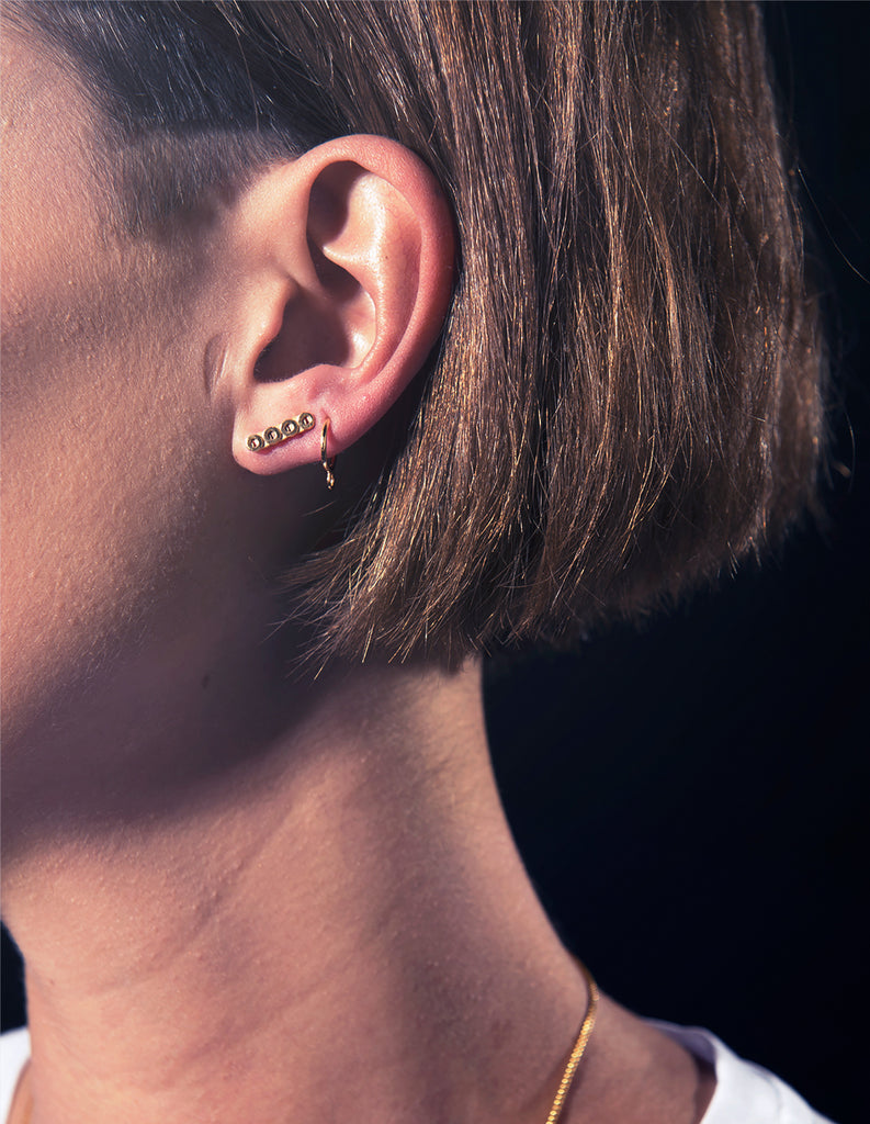 gold circ line studs may hofman jewellery