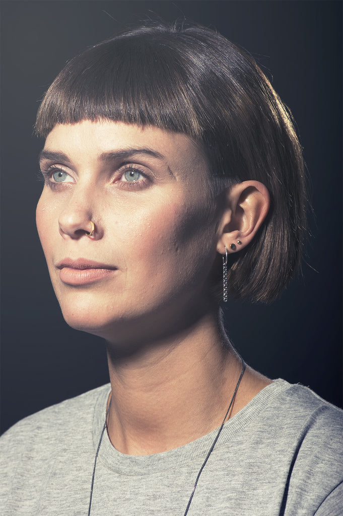 Silver Circ Line Drop Hoops By May Hofman Jewellery
