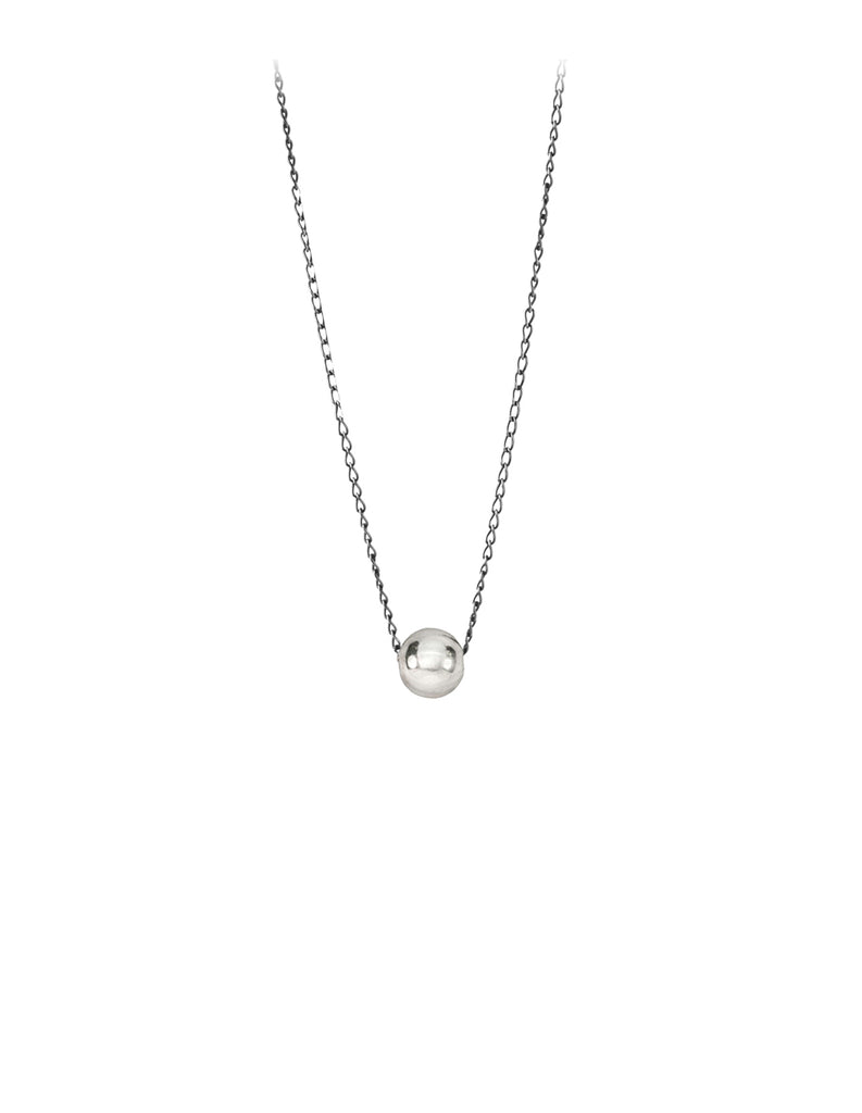 Silver Sphere simple necklace by May Hofman Jewellery