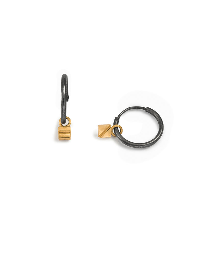 gold plated square drop hoops by may hofman jewellery