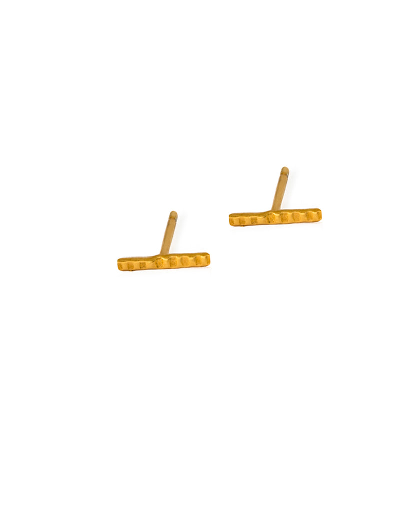 Gold Small Runed Studs by May Hofman Jewellery