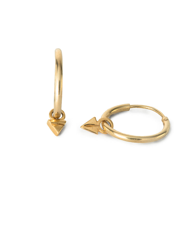Gold Triangle Drop Hoops by May Hofman Jewellery