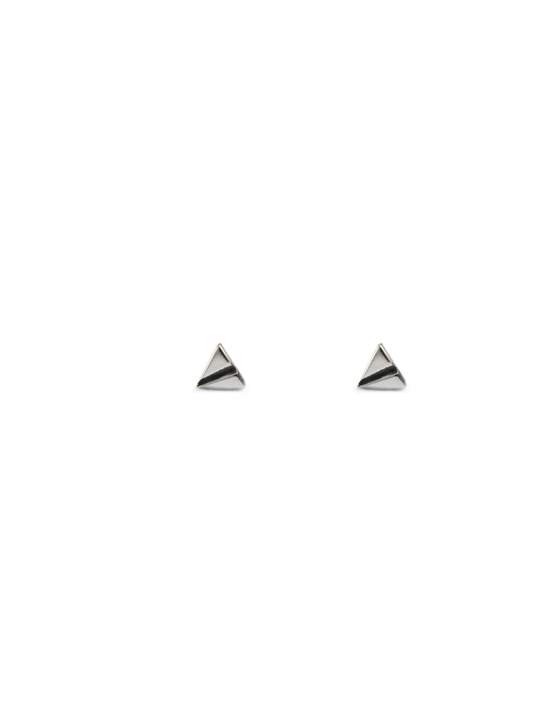 silver triangle studs by may hofman jewellery