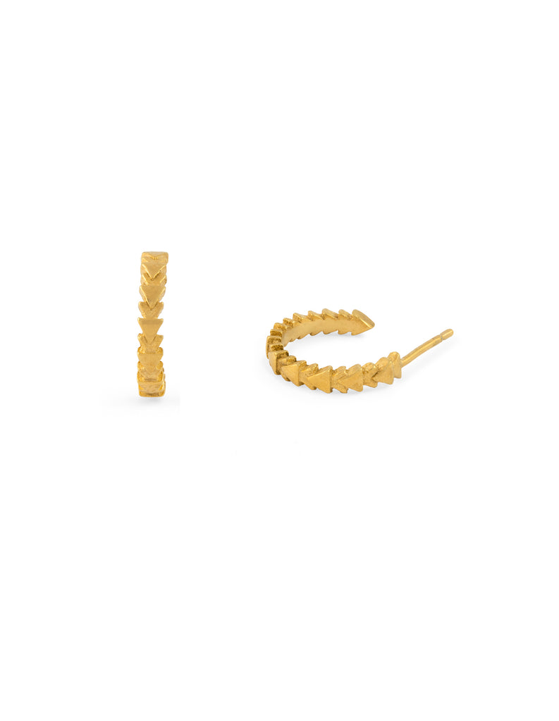 gold tri line hoops by may hofman jewellery