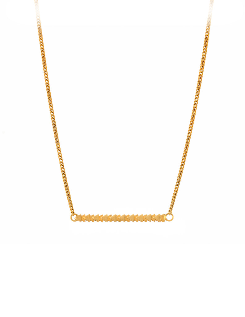 gold tri line necklace by May Hofman Jewellery