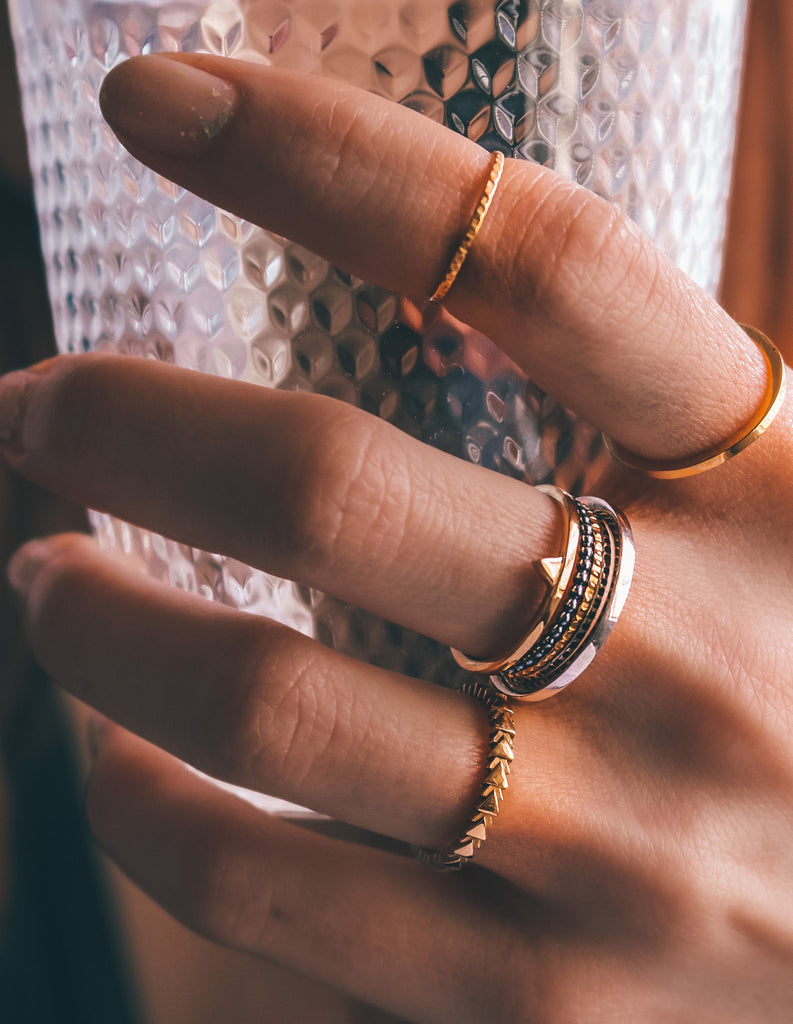 Gold Triangle ring by may hofman jewellery