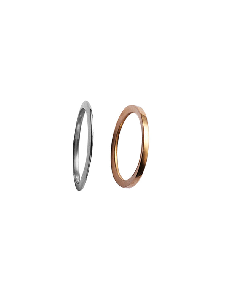 Gold Y ring and Silver X ring By May Hofman Jewellery