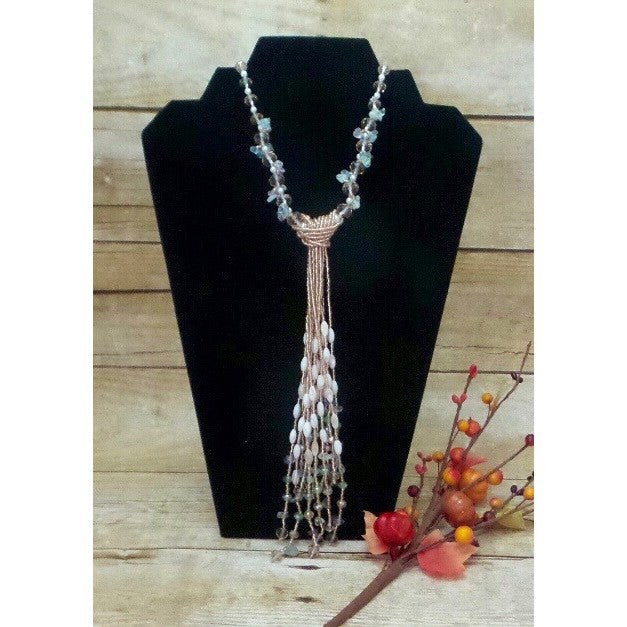 Necklace Handcrafted Glass and Crystal Beads 12 Tassels - Beads and Dangles