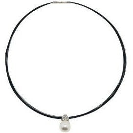 Necklace Choker Stainless Steel Bands Pearl Pendant twist clasp closure 40 cm. - Beads and Dangles