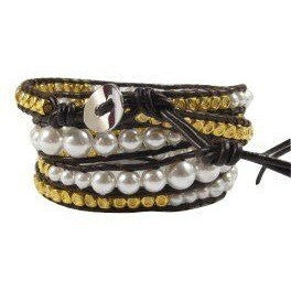 Chan Luu Style Wrap Bracelet Shell Pearls and Gold Plated Nuggets and Brown Leather Jewelry - Beads and Dangles