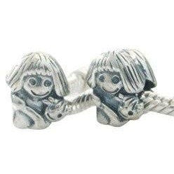 European charm sterling silver bead little girl - Beads and Dangles