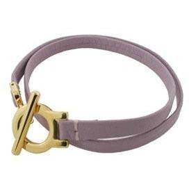 Leather Bracelet Double Wrap Gold Plated Clasp Lavender Leather Fits 7.5 wrist - Beads and Dangles