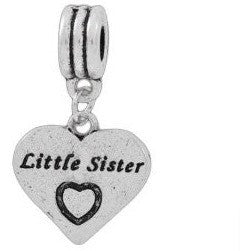 European Charm Metal Bead Word Charm LITTLE SISTER - Beads and Dangles