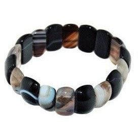 Bangle Bracelet Gemstone one size Black and White Agate - Beads and Dangles