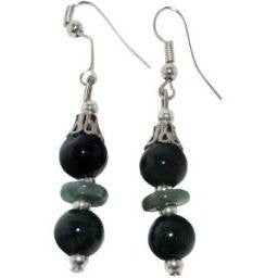 Jade Earrings Green Jade Silver Plate Accents - Beads and Dangles