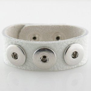 Leather Snap Charm Bracelet White Small Size 22cm - Beads and Dangles