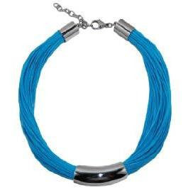 Necklace Stainless Steel Art Piece with 60 Waxed Cotton Turquoise Cords  40 cm  adjustable clasp - Beads and Dangles
