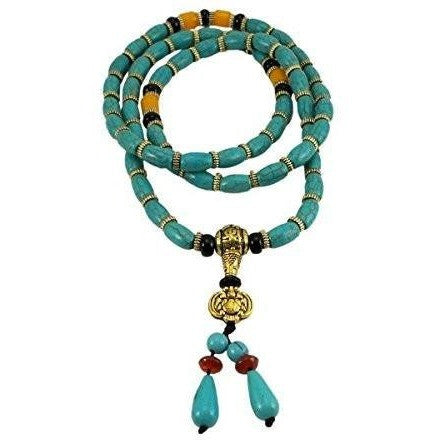 Tibetan 108 Prayer Beads Wrap Bracelet Necklace Turquoise Beads - Beads and Dangles