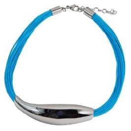 Necklace Stainless Steel Art Piece with 24 Waxed Cotton Turquoise Cords  40 cm  adjustable clasp - Beads and Dangles
