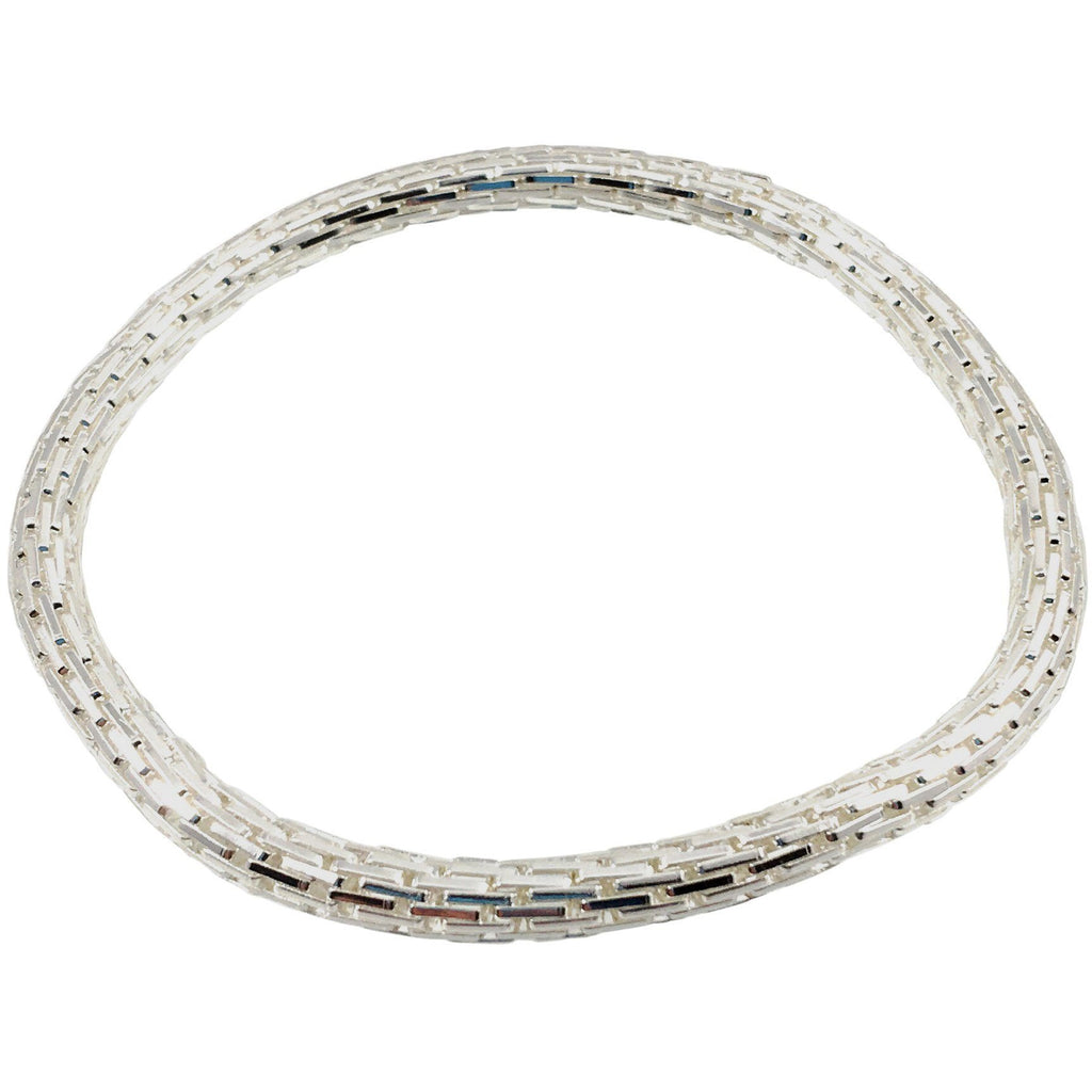 925 Sterling Silver Plated Mesh Chain Stretch Bracelet (Silver 4mm Rectangle Bar Links) - Beads and Dangles