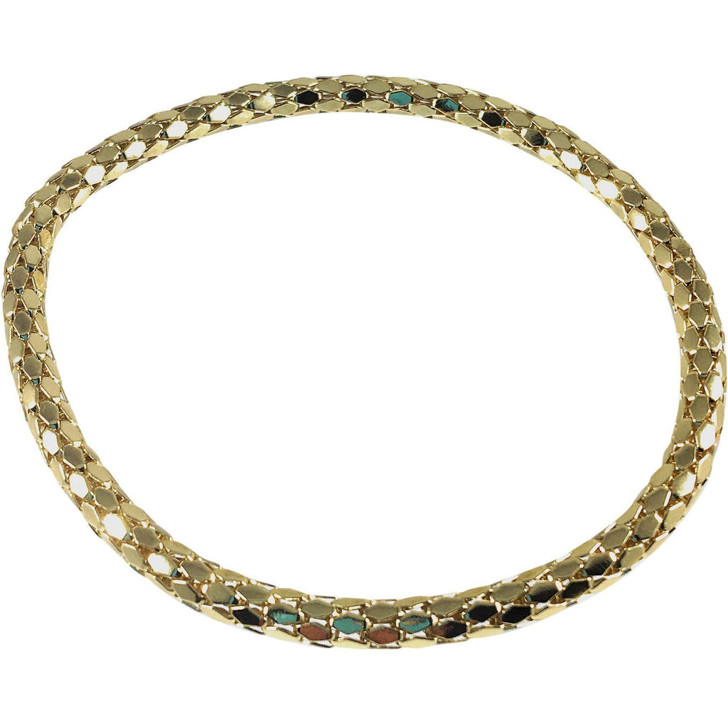 12K Gold Plated Mesh Chain Stretch Bracelet (Gold 4mm Hexagon Links) - Beads and Dangles