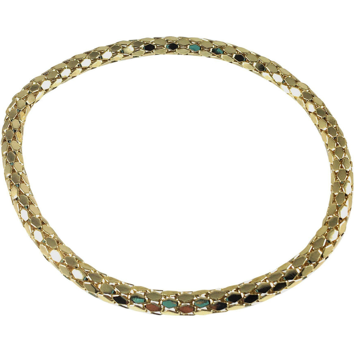 12K Gold Filled Mesh Chain Stretch Bracelet (Gold 4mm Hexagon Links) - Beads and Dangles