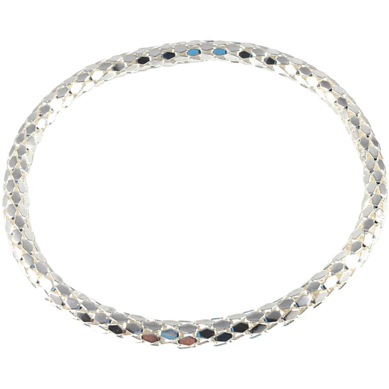 925 Sterling Silver Filled Mesh Chain Stretch Bracelet (Silver 4mm Hexagon Links) - Beads and Dangles