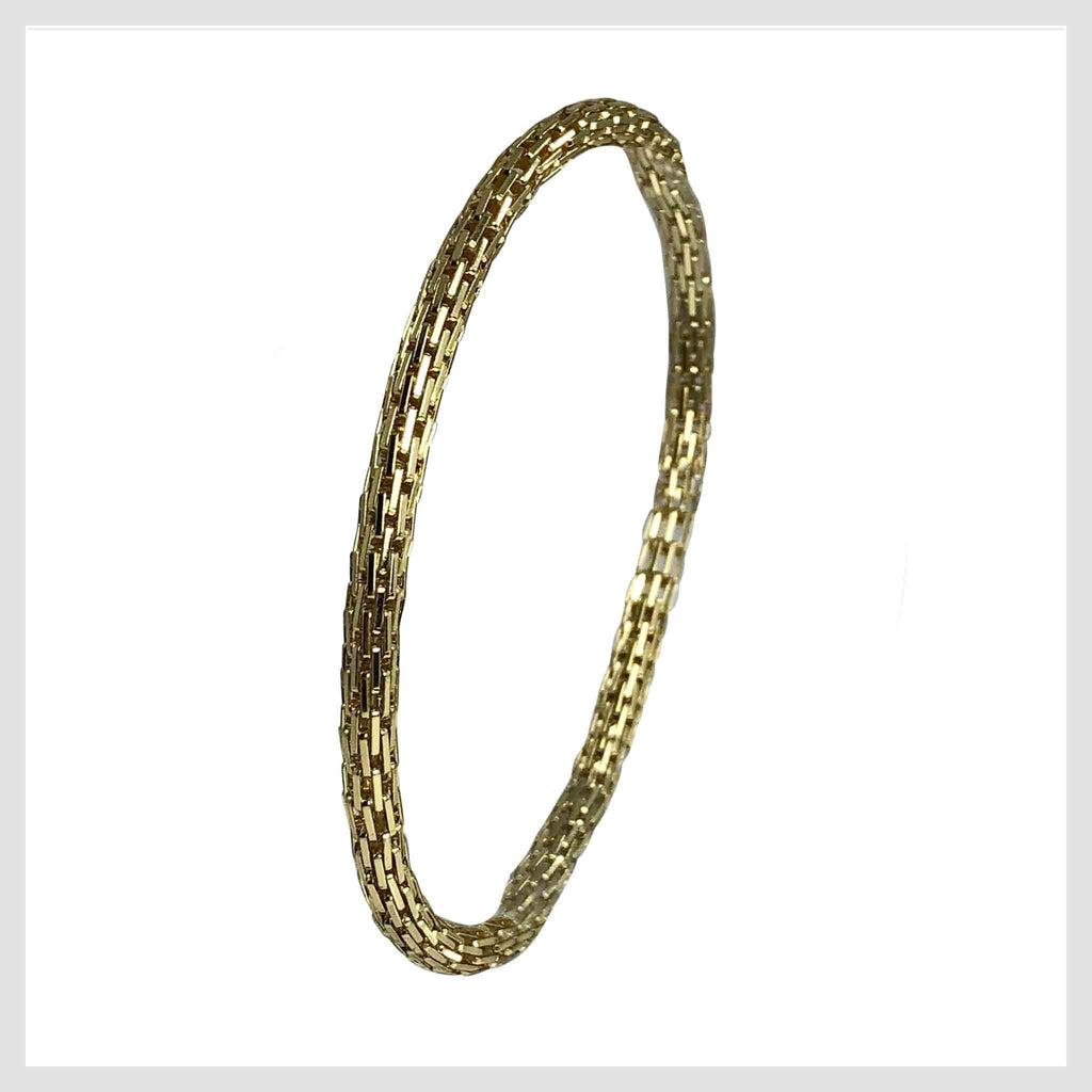 12K Gold Filled Mesh Chain Stretch Bracelet (Gold 4mm Rectangle Bar Links) - Beads and Dangles