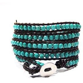 Chan Luu Style Wrap Bracelet Brown Leather and Turquoise - Beads and Dangles