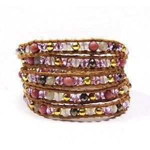 Chan Luu Style Wrap Bracelet Pink Stone Mix Wrap Bracelet - Beads and Dangles