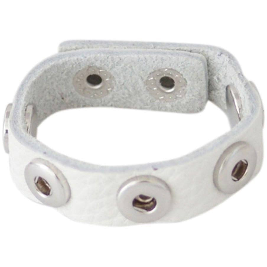 Chunk Snap Charm White Leather Bracelet for 12mm Mini Petite Snaps Adult Size - Beads and Dangles