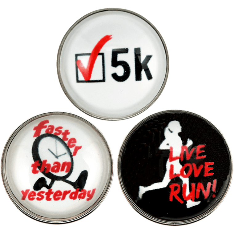 "Chunk Snap Charm Runners Set of 3 with 5K - 20mm 3/4"" Diameter - Beads and Dangles"