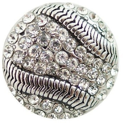 Chunk Snap Charm Baseball Rhinestones Bling 20 mm - Beads and Dangles
