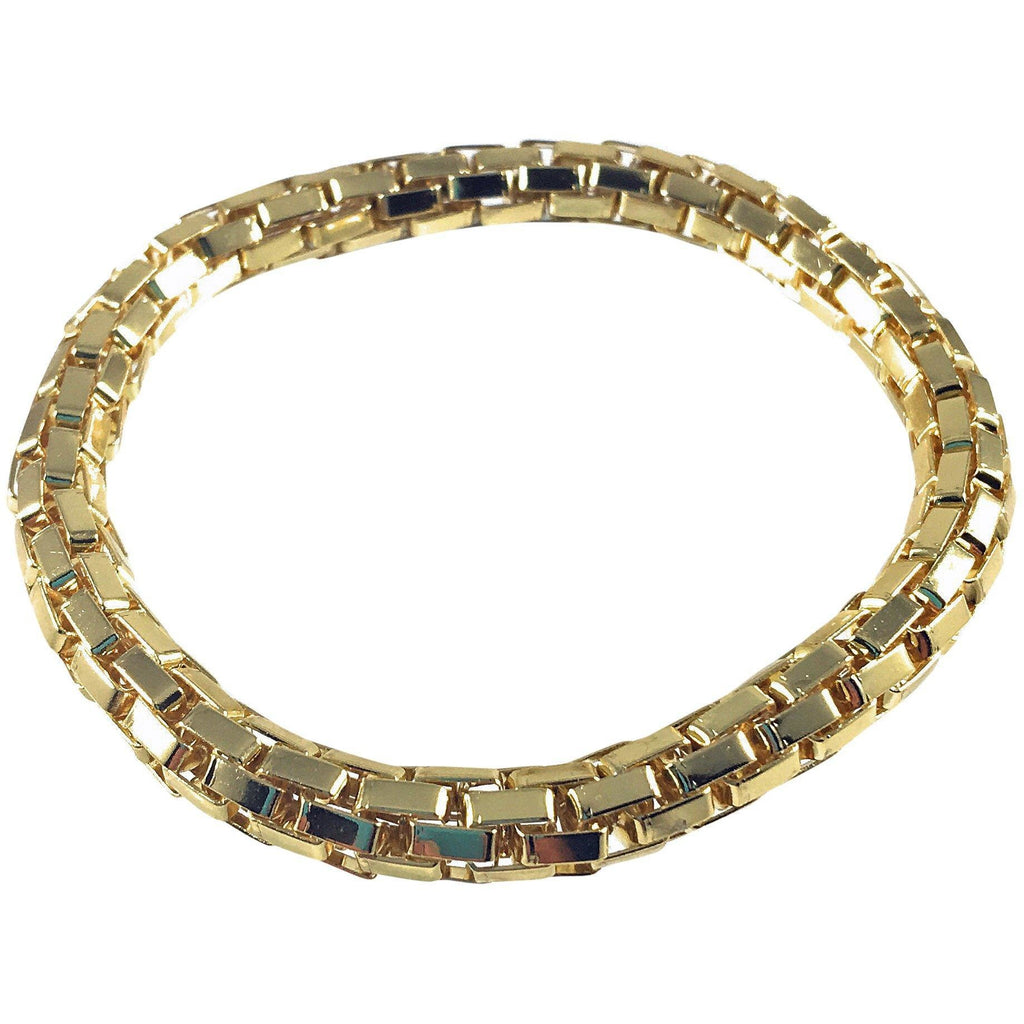 12K Gold Plated Mesh Chain Stretch Bracelet (Gold 6mm Box Links) - Beads and Dangles