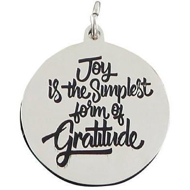 Stainless Steel Charm Joy is the Simplest Form of Gratitude - Beads and Dangles