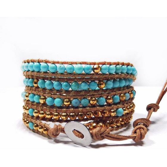 Chan Luu Style Wrap Bracelet Turquoise and Gold Nuggets - Beads and Dangles