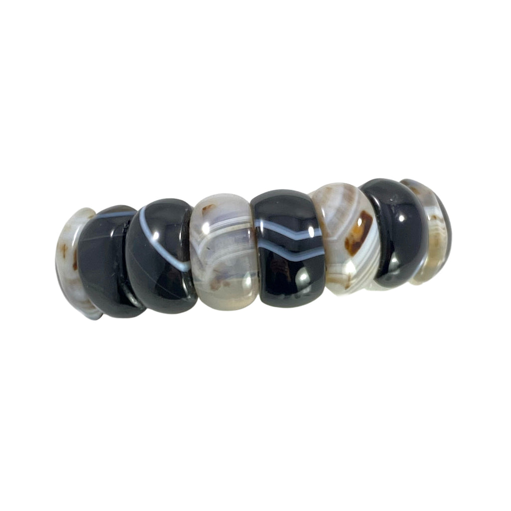 Agate Gemstone Stretch Bracelet Black and White