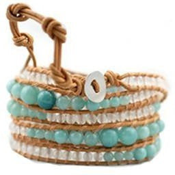 Chan Luu Style Wrap Bracelet Natural Leather Amazonite - Beads and Dangles