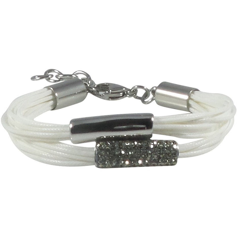 Stainless Steel Bracelet White Wax Poly Cords Black Diamond Crystals Adjustable Clasp Bracelet - Beads and Dangles