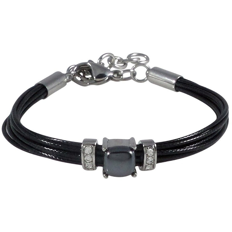 Stainless Steel Bracelet Black Wax Poly Cords Hematite and Clear Crystal Adjustable Clasp - Beads and Dangles