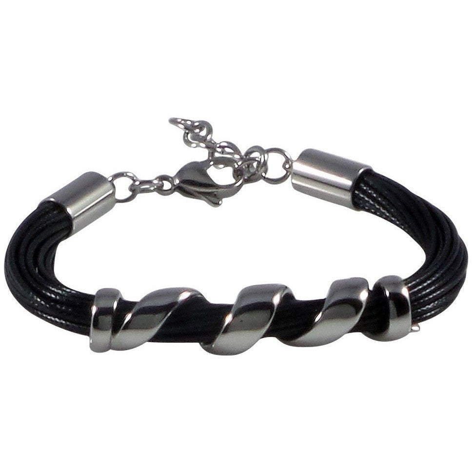 Stainless Steel Bracelet Black Wax Poly Cords Twist Centerpiece Adjustable Clasp - Beads and Dangles