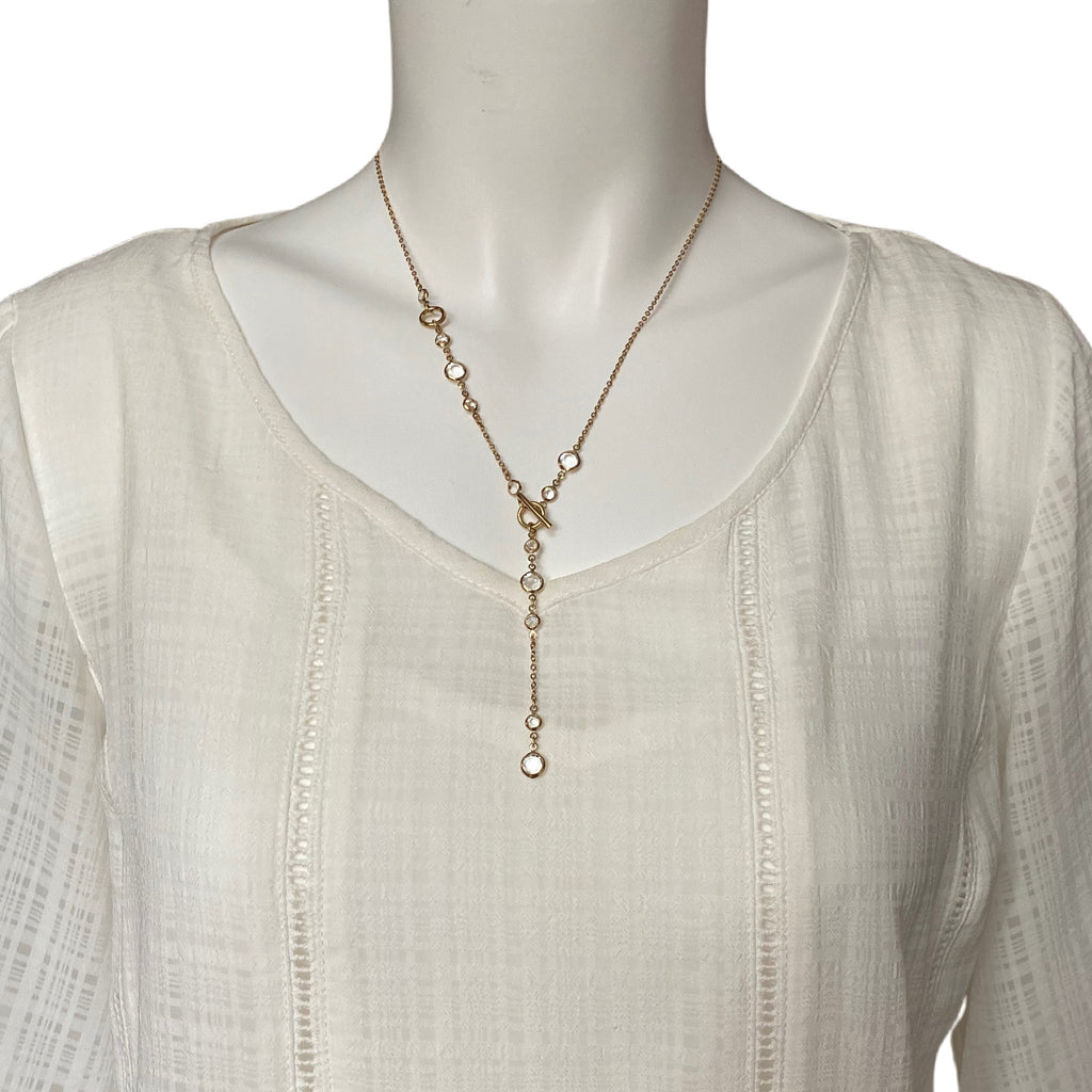 "Stainless Steel Gold Plated Long Necklace 22"" with Clear Stone Accents and Toggle Drop Clasp"