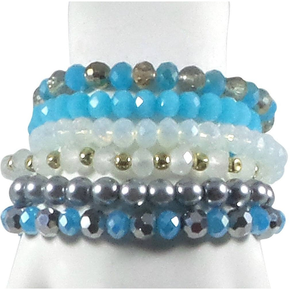 Stretch Bracelet Set of 6 Individual Handcrafted Glass Beads with Tassel (Turquoise) - Beads and Dangles