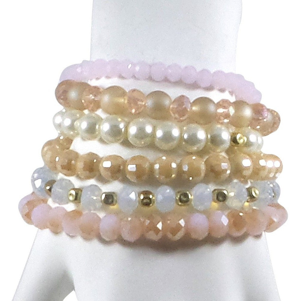 BOHO Stack Stretch Bracelet Set of 6 with Tassel (Ivory/Pink) - Beads and Dangles