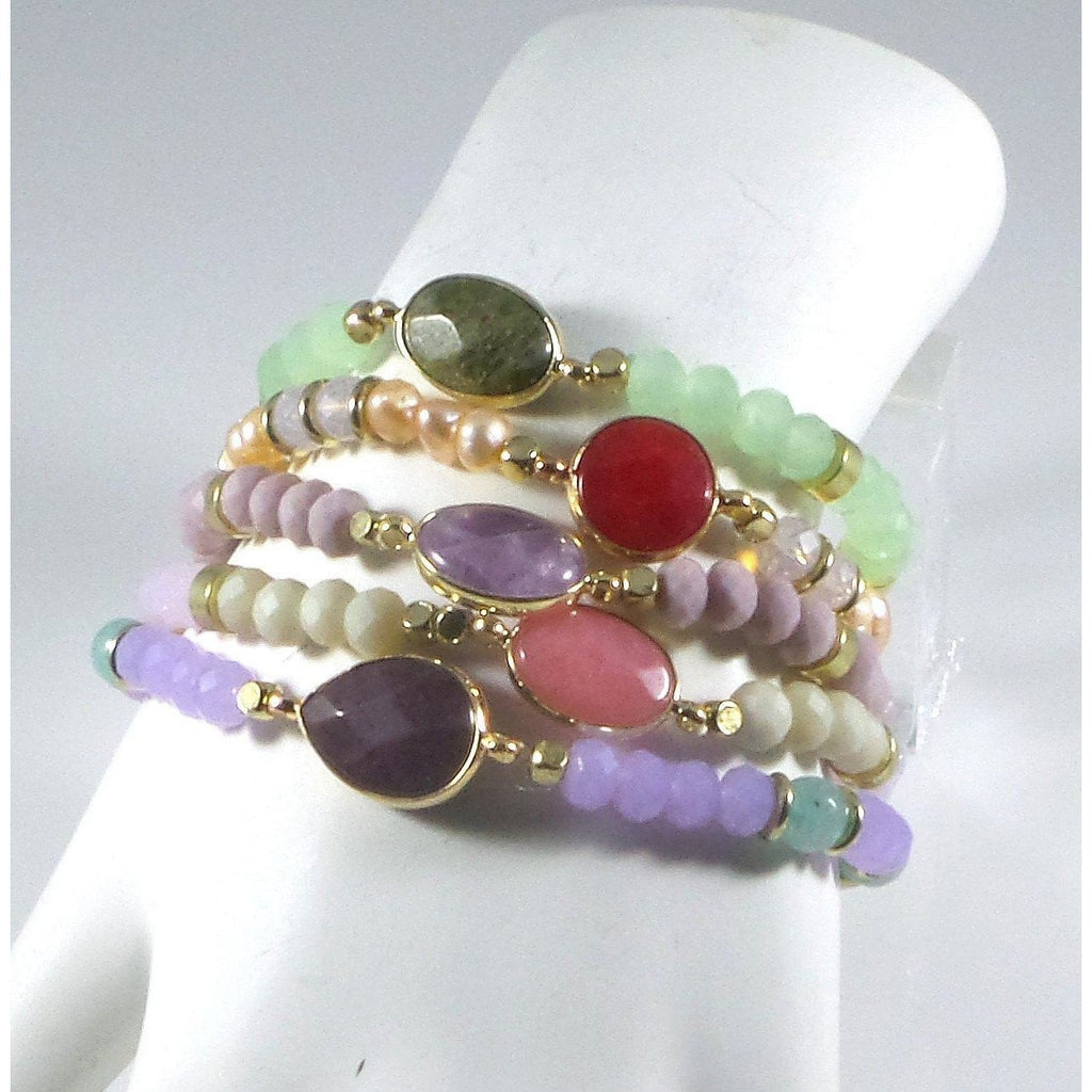 Stretch Bracelet Handcrafted Glass Beads Natural Stone Set of 5 - Beads and Dangles
