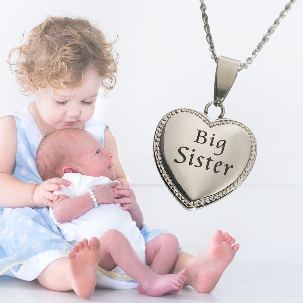 "Big Sister Heart Charm Necklace 20mm 3/4"" Diameter"