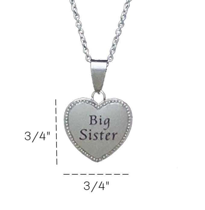 "Big Sister Heart Charm Necklace 20mm 3/4"" Diameter - Beads and Dangles"