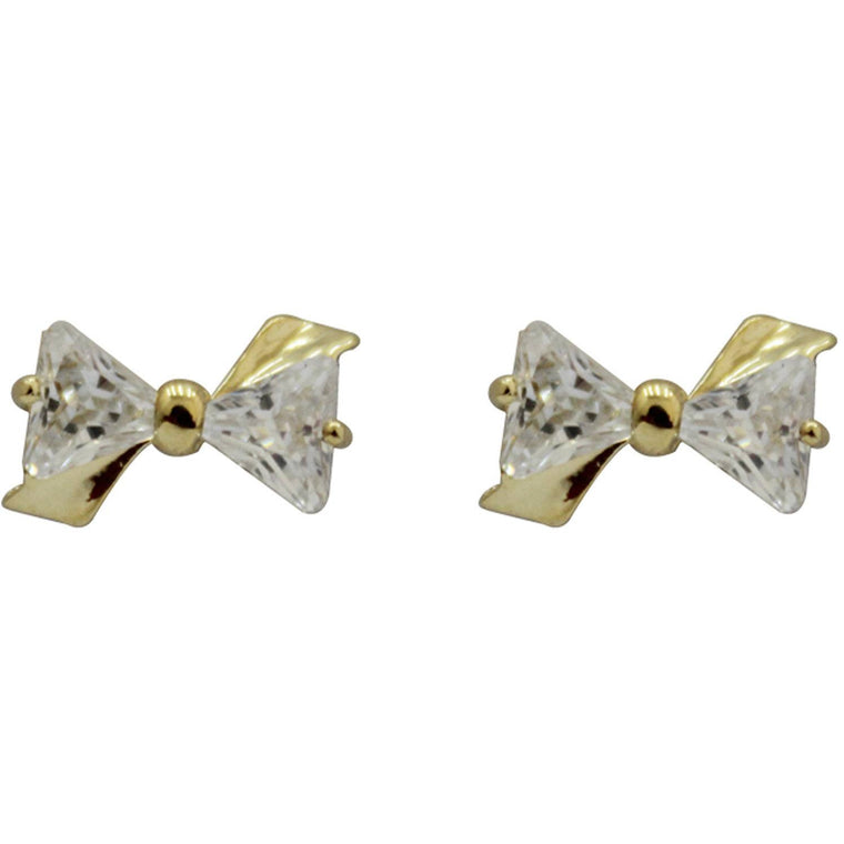 Cubic Zirconia Earrings Bowtie Gold Plated Stud - Beads and Dangles