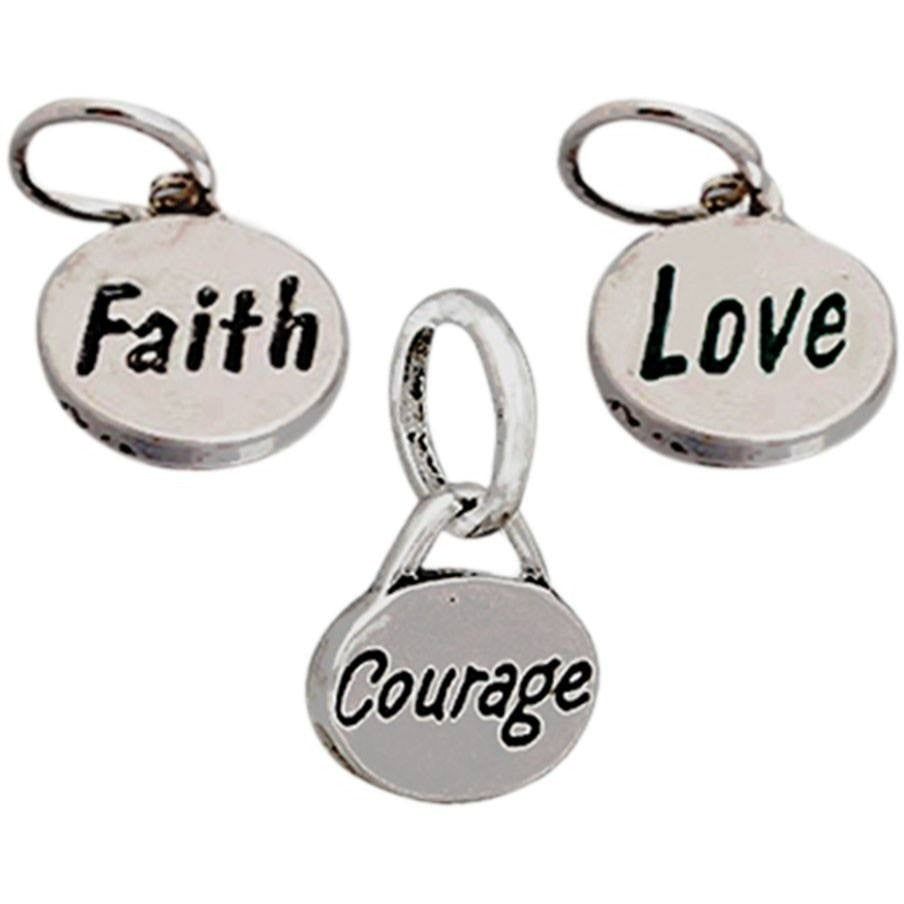 Charm Set Courage Faith Love - Beads and Dangles