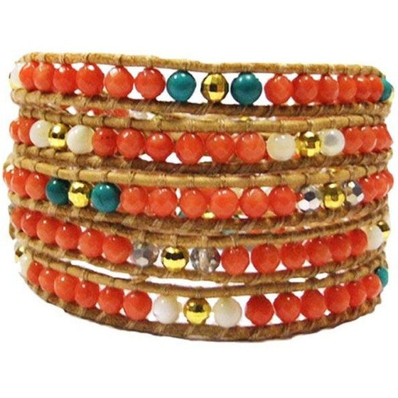 Chan Luu Style Wrap Bracelet Orange Coral and Turquoise - Beads and Dangles